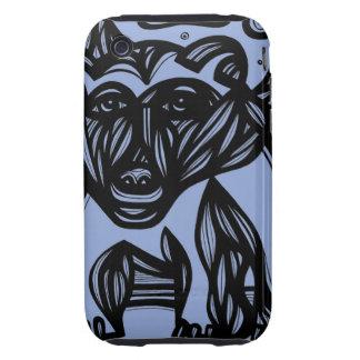 Oso, negro azul del oso polar tough iPhone 3 protectores