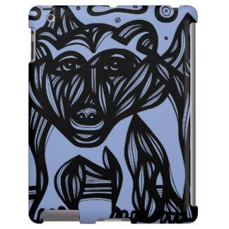 Oso, negro azul del oso polar funda para iPad