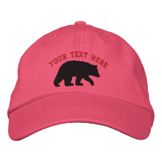 Oso negro con el texto adaptable gorras bordadas