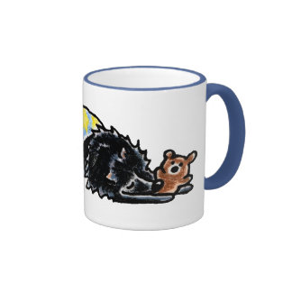 Oso negro de la hora de acostarse de Pomeranian Tazas De Café