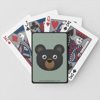 Oso negro de papel barajas de cartas