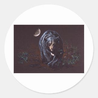 Oso negro del claro de luna pegatina redonda