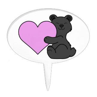Oso negro del el día de San Valentín con el Figuras Para Tartas