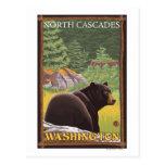 Oso negro en el bosque - cascadas del norte, Washi Tarjeta Postal