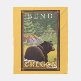 Oso negro en el bosque - curva, Oregon Manta Polar