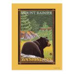 Oso negro en el bosque - el Monte Rainier, Postal