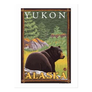 Oso negro en el bosque - el Yukón, Alaska Tarjetas Postales