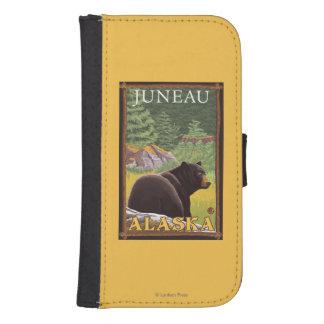 Oso negro en el bosque - Juneau, Alaska Funda Tipo Billetera Para Galaxy S4