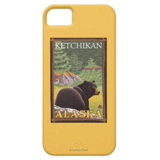 Oso negro en el bosque - Ketchikan, Alaska iPhone 5 Funda