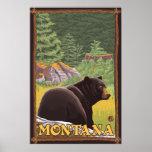 Oso negro en el bosque - Montana Poster