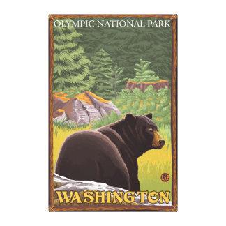 Oso negro en el bosque - parque nacional olímpico, impresión en lienzo