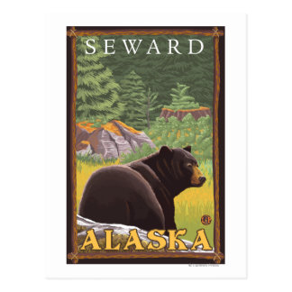 Oso negro en el bosque - Seward Alaska Postales