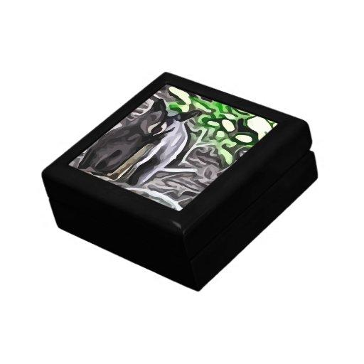 Oso negro en la pintura de maderas joyero cuadrado pequeño