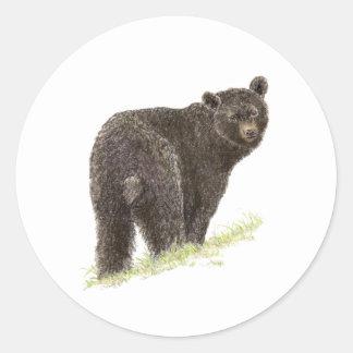 Oso negro lindo naturaleza animal fauna etiquetas redondas