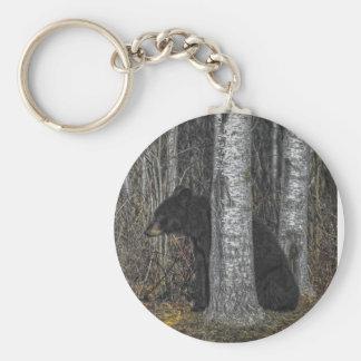 Oso negro llavero redondo tipo pin