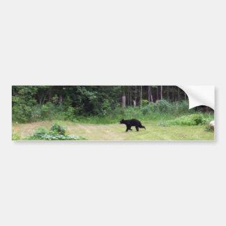 Oso negro que corre a través de un patio trasero etiqueta de parachoque