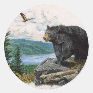 Oso negro Ridge Pegatina Redonda