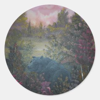 oso negro viejo etiquetas redondas