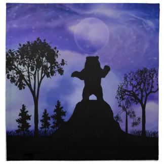 Oso negro y la luna servilleta