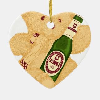 ¿Oso o cerveza? Adorno Navideño De Cerámica En Forma De Corazón