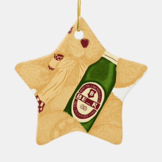 ¿Oso o cerveza? Adorno Navideño De Cerámica En Forma De Estrella
