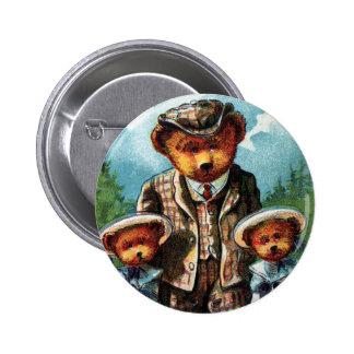 Oso orgulloso de la papá - letra P - oso de peluch Pin Redondo 5 Cm