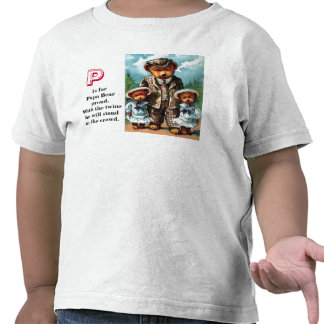 Oso orgulloso de la papá - letra P - oso de peluch Camisetas