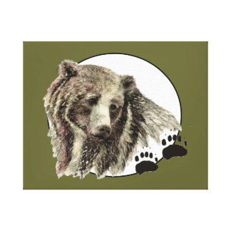 Oso original de la acuarela con las pistas animale impresión de lienzo