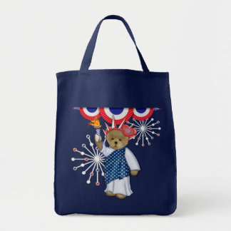 Oso patriótico de la libertad bolsas lienzo