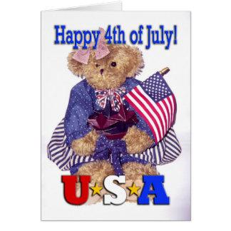 ¡Oso patriótico del chica - feliz el 4 de julio! Tarjeta De Felicitación