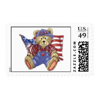 Oso patriótico sello postal