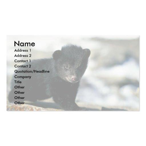 Oso-pequeño cachorro negro plantilla de tarjeta personal
