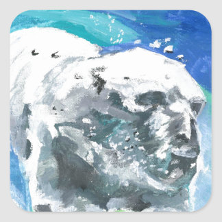 oso polar 2 pegatina cuadrada