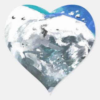 oso polar 2 pegatina en forma de corazón