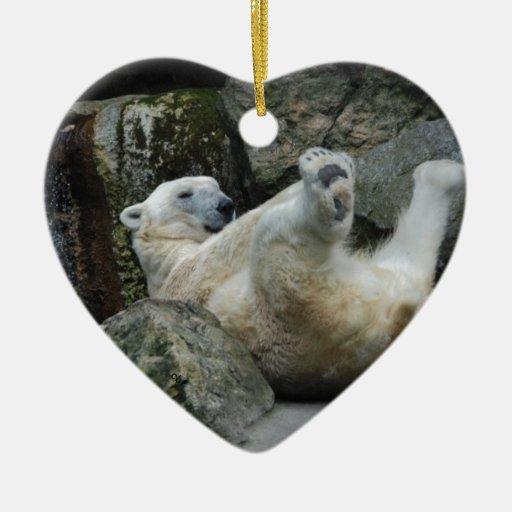 Oso polar adorno navideño de cerámica en forma de corazón