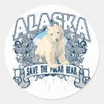 Oso polar Alaska Etiquetas Redondas