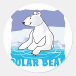 Oso polar amistoso del niño etiqueta redonda