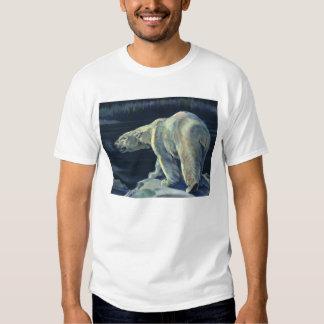 Oso polar ártico del vintage, animales de la vida poleras