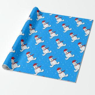 Oso polar azul papel de regalo