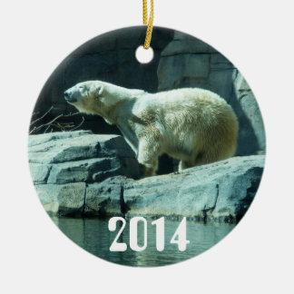 Oso polar: Berlín Adorno Navideño Redondo De Cerámica