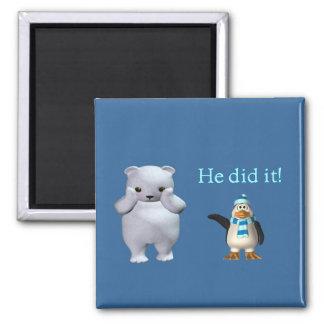 Oso polar blanco y mún pingüino imán cuadrado
