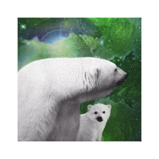 Oso polar cachorro y aurora boreal impresión en lona