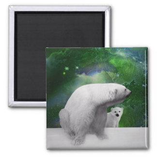 Oso polar, cachorro y aurora de la aurora boreal imán para frigorifico