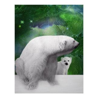 Oso polar, cachorro y aurora de la aurora boreal membretes personalizados