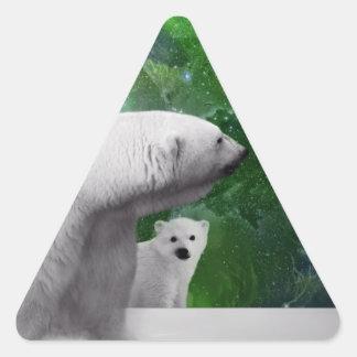 Oso polar, cachorro y aurora de la aurora boreal pegatinas de triangulo