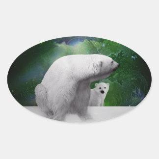 Oso polar, cachorro y aurora de la aurora boreal pegatina óval