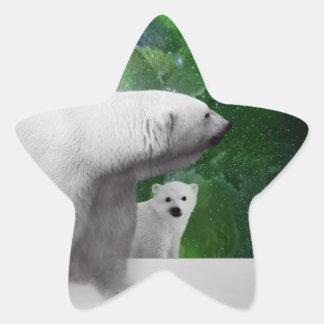 Oso polar, cachorro y aurora de la aurora boreal calcomanías forma de estrellaes personalizadas