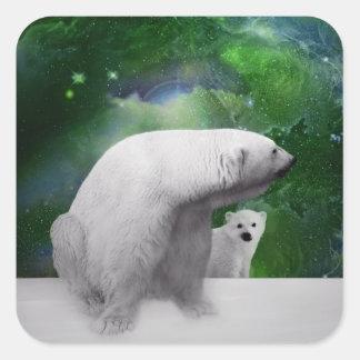 Oso polar, cachorro y aurora de la aurora boreal pegatina cuadrada