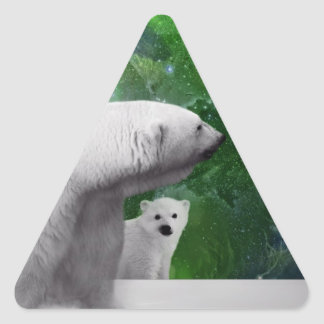 Oso polar, cachorro y aurora de la aurora boreal pegatina triangular