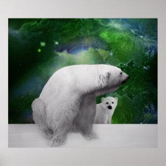 Oso polar, cachorro y aurora de la aurora boreal póster